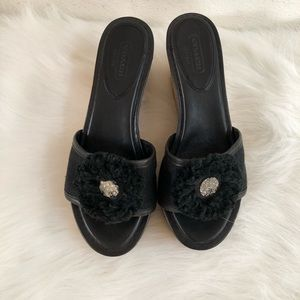 Coach logo fluffy leather wedge slide 5.5